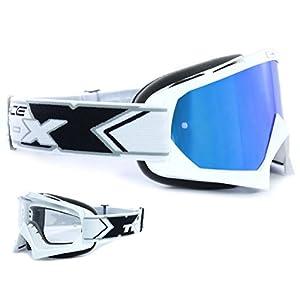 TWO-X Race Crossbrille Weiss Glas verspiegelt blau MX Brille Motocross Enduro Spiegelglas Motorradbrille Anti Scratch MX Schutzbrille