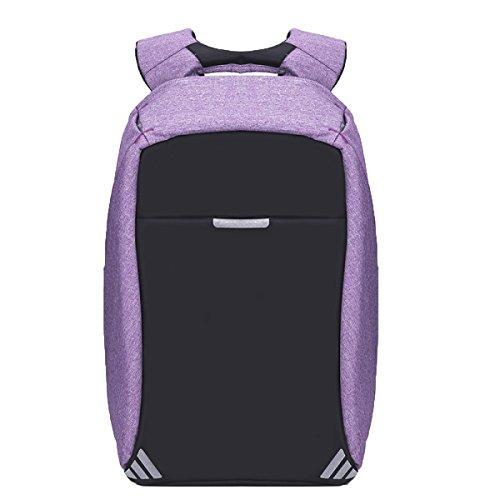Frauen-Mann-Laptop-Rucksack-dünner Geschäfts-Computer-Rucksack Mit USB-Ladekabel Und Port-Wasser-beständiger Antidiebstahl-Reise-Schultaschen,Purple-M