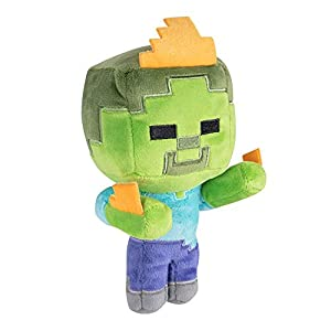 "Minecraft 8752 Happy Explorer Zombie On Fire 7"" - Peluche de Zombi de Felpa, Color Verde"