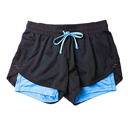 se Kurze Hose Shorts Solid Mesh Patchwork Fake 2 in 1 Mini Hosen Atmungsaktiv Quick Dry Lose Loose Bequem Workout Laufhose Joggers (M,Schwarz & hellblau) ()