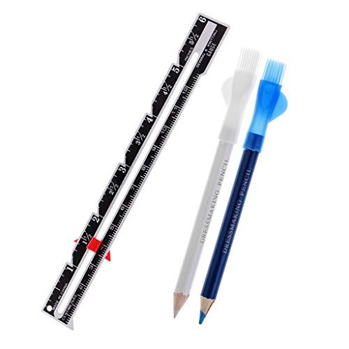 F Fityle Stücke Kreide Bleistifte Weiß/Blau + Metall Lineal Schneiderlineal