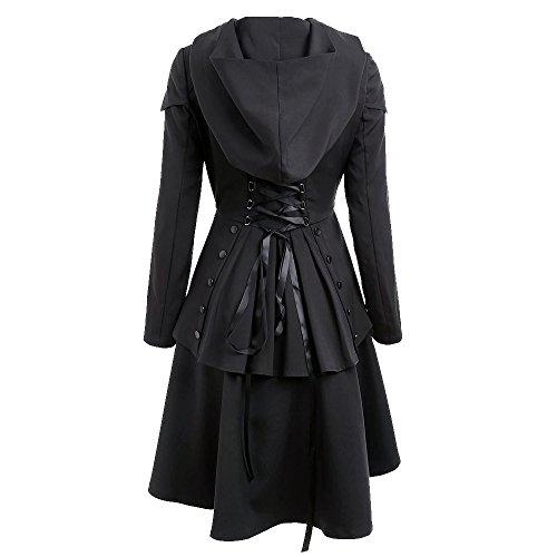 Vertvie Damen Mantel Kleid Lang Elegant Winter Gotik Asymmetrische Jacke Schnürung am Rücken mit Kapuze Schwarz