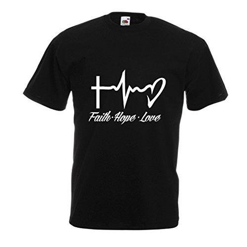 lepni.me Männer T-Shirt Glaube - Hoffnung - Liebe - 1. Korinther 13:13, Christliche Zitate und Sprichwörter, Religiöse Sprüche (Medium Schwarz Mehrfarben)