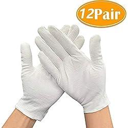 12 Paires Gants de Coton Blanc Doux et léger pour pièces de Monnaie, Taille Moyenne