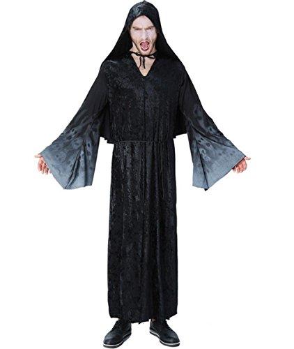 DuuoZy Männer Schädel-Druck Langer Ärmel mit Kapuze Mantel Robe Halloween Wizard Kostüm Cape, Black, 145cm