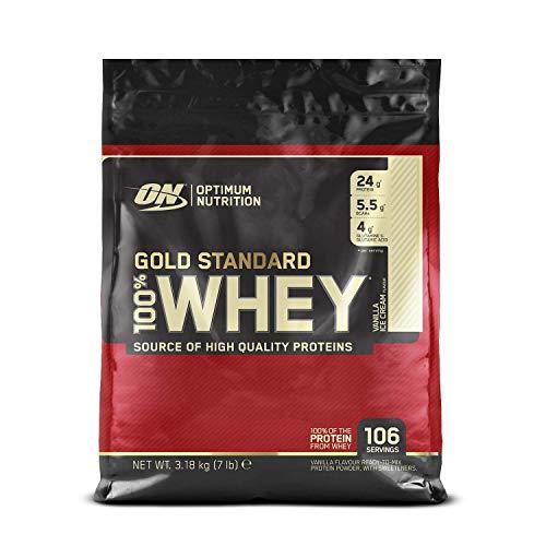Optimum Nutrition ON Gold Standard Whey Protein Pulver, Eiweißpulver Muskelaufbau mit Glutamin und Aminosäuren, natürlich enthaltene BCAA, Vanilla Ice Cream, 106 Portionen, 3.18kg