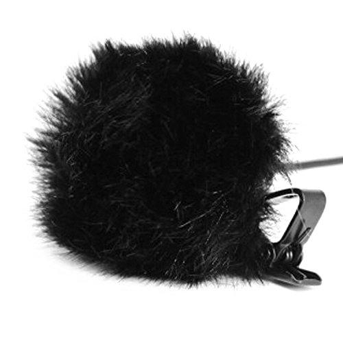 Handy auf Borsten-Windschutzscheibe Muffe Windschutz Mantel-Pelz-Windschutzscheibe für Mini On Reverskragen Krawatte Mikrofon Mic Schwarz (Fell Reverskragen-mantel)