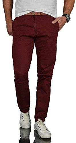 A. Salvarini Herren Designer Business Chino Hose Chinohose Regular Fit AS-095 [AS-095 - Bordeaux - W38 L32]