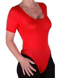 Eyecatch Basics - Frauen Kurzarm mit rundem Halsausschnitt Gymnastikanzug Ausdehnungs Damen Bodysuit Body Top