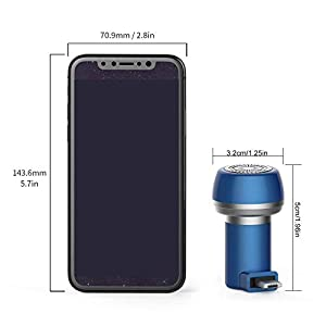FOONEE Magnetic Mini Mobile Phone Razor Portable Travel USB Electric Shaver Sharpener, Waterproof Mens Rotary Shaver With Lid, Best Gift For Dad, Boyfriend, Husband, Friends, Women(Android+USB)