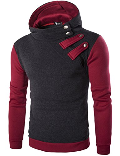 Junshan herren hoodies kaputzenpullover männer sweatshirt Herbst Winter kaputzenpulli mit fashion reissverschluss Dunkelgrau