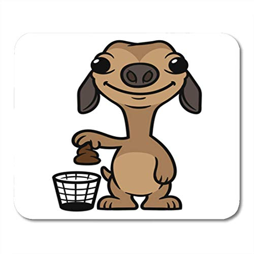 HOTNING Gaming Mauspads, Gaming Mouse Pad Brown Animal Cartoon Silly Dog Putting Poop in Trash Baby 11.8