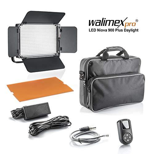 Walimex pro Niova 900 Plus Daylight - LED Videoleuchte Dauerlicht Flächenleuchte, 54 Watt, 900 LED, dimmbar, 5600K, 6.500 Lumen, CRI ≥ 97 Ra, DMX +...
