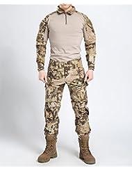Nueva serie Commando camuflaje rana trajes pantalones de camuflaje táctico suave resistente a respirar libremente al chaqueta + pantalones selva camuflaje ejército uniforme, color Desert Python Camouflage, tamaño small