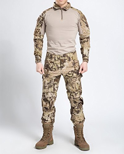 Juego de chaqueta y pantalones comando, diseño de camuflaje y estilo uniforme militar, color Desert Python Camouflage, tamaño Large