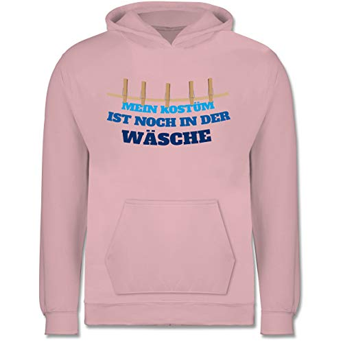 & Fasching Kinder - Mein Kostüm ist noch in der Wäsche Wäscheleine blau - 9-11 Jahre (140) - Hellrosa - JH001K - Kinder Hoodie ()