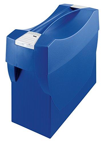 Preisvergleich Produktbild HAN 1901-14, Hängemappenbox SWING-PLUS mit Deckel, Das mobile Büro. Innovatives Design für 20 Hängemappen, integrierter Köcher, blau