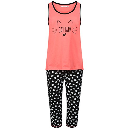 Ladies 100% Cotton Vest Top and Cropped Leg Pyjamas. Mermaid or Cat Nap Design. Sizes S, M, L, XL. - 41Tx0KovqnL - Ladies 100% Cotton Vest Top and Cropped Leg Pyjamas. Mermaid or Cat Nap Design. Sizes S, M, L, XL.