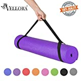 VELLORA Yoga Mat Anti Skid Yogamat for Gym Workout and Flooring Exercise - Long Size Yoga Mate for Men Women (Purple-6MM)