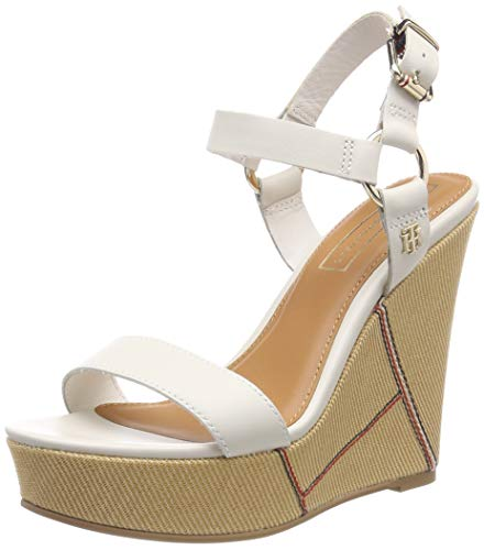 Tommy Hilfiger Elevated Leather Wedge Sandal, Plateau Donna, Bianco (Whisper White 121), 38 EU