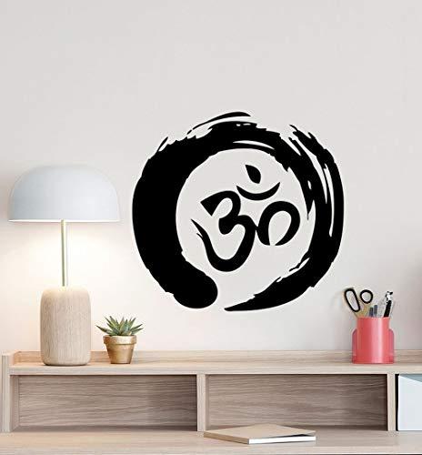 BailongXiao Zen Kreissymbol Wandtattoo Ohm Buddhismus Plakat Zeichen Runde Vinyl Aufkleber Büro Meditation Dekoration Familien Schlafzimmer 67,5x63cm