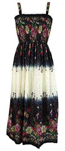 Guru-Shop Hippie Strandkleid, Sommerkleid, Damen, Weiß, Synthetisch, Size:38, Lange & Midi Kleider Alternative Bekleidung -