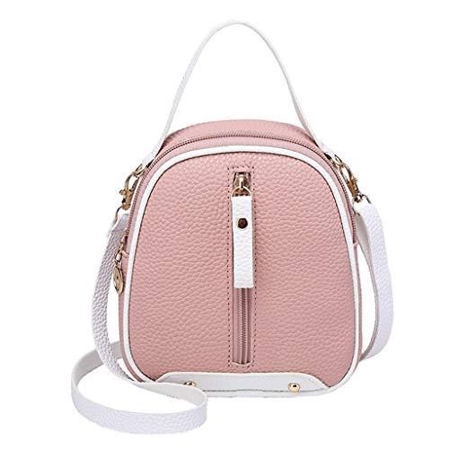 COZOCO Frauen Mode Schultertaschen kleine Rucksack Geldbörse Handy Messenger Bag Flap Handy Tasche(rosa,)