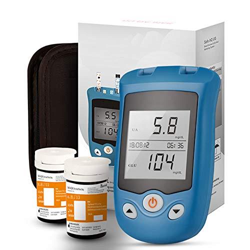 Zzyyzz diabete test kit, monitoraggio multifunzione del sistema 2 in 1 misuratore di glicemia e acido urico, con 50 strisce reattive per acido urico e 50 strisce reattive per glicemia,a