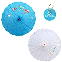 "Carykon 2Pcs Chinese Japanese Oriental Parasol Umbrella Dia. 22"" for Kids (Light Blue+White)"
