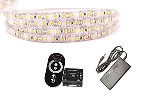 10 Meter Sehr Heller Kaltweißer LED Streifen (120 LED/m, IP65, 24V) inkl. Controller, Funkfernbedienung und