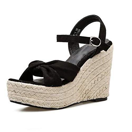 YOPAIYA Espadrilles,Frauen Cross Bow High Heels Plateau Sandalen Peep Toes Wedge Espadrilles Damen Schnalle Komfortable Damen Sandalen, 35 -
