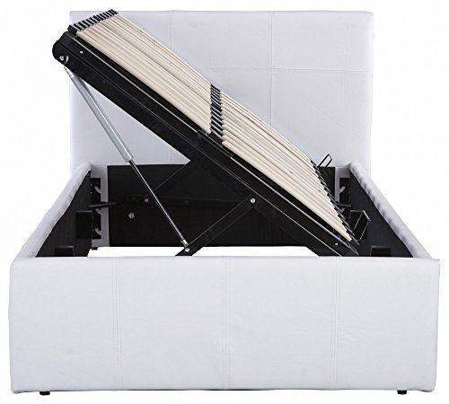 The Side Lift Ottoman Storage Bed (5ft King Size, White)