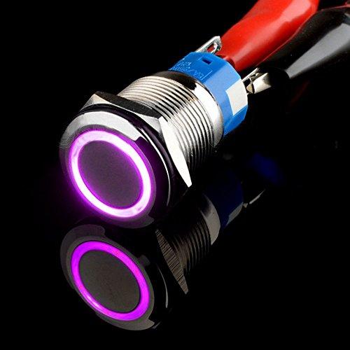 Mintice™ 19mm 12V 5A bleu angle oeil LED bouton poussoir voiture interrupteur à bascule en métal