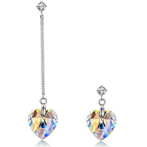 Lares Domi 925 Sterling Silver Delicate Drop Earrings with Austrian Crystal Beads RTilLlV1
