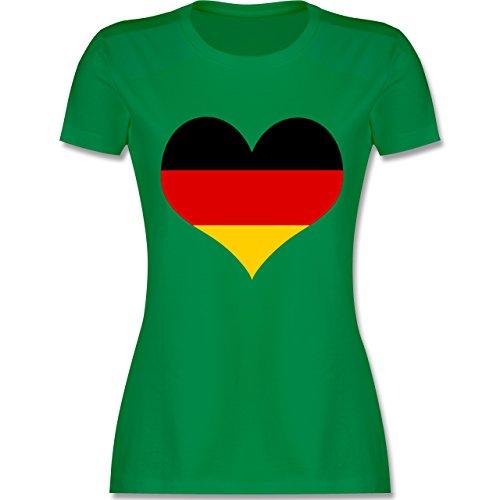 EM 2016 - Frankreich - Deutschland Herz - tailliertes Premium T-Shirt mit Rundhalsausschnitt für Damen Grün