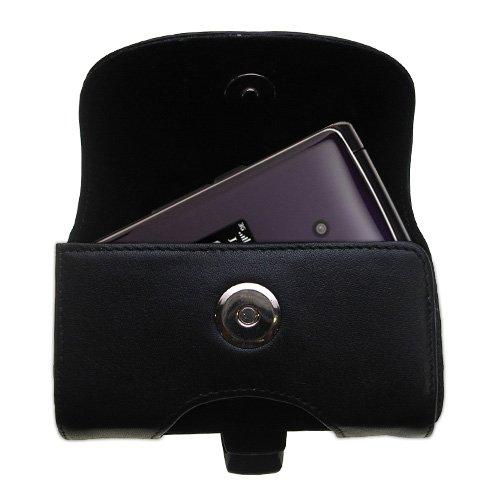Die schwarze Gomadic Designer-Tasche aus Leder für die LG CU515 ist eine Gürteltasche - Enthält optional eine Gürtelschleife und einen entfernbaren Klip