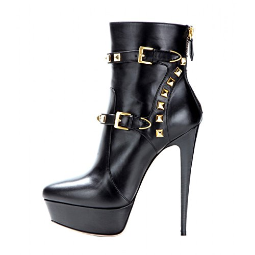 Onlymaker Damen Pumps Stiletto Kurzschaft Stiefel High Heels Boots Schuhe mit Plateau Nieten Schwarz EU37 (Schwarzer Bootie Heels)
