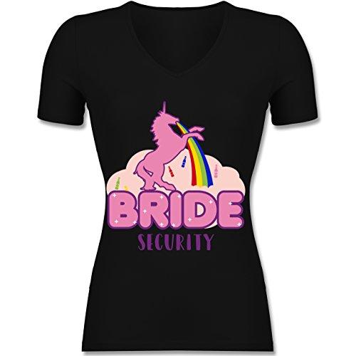esellinnenabschied - JGA Bride Security Einhorn - XXL - Schwarz - F281N - Tailliertes T-Shirt mit V-Ausschnitt für Frauen (Einhorn-ausschnitt)
