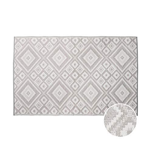 Butlers Colour Clash Outdoor Teppich Ethno 180x120 cm in Grau-Weiß - Flachgewebe Teppich für Innen- und Außenbereich