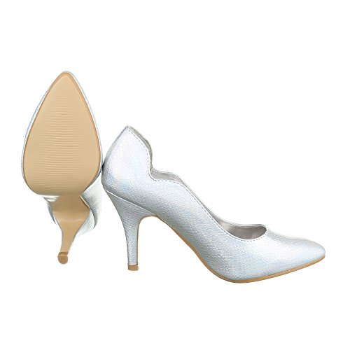 High Heel Damenschuhe Plateau Pfennig-/Stilettoabsatz High Heels Ital-Design Pumps Silber