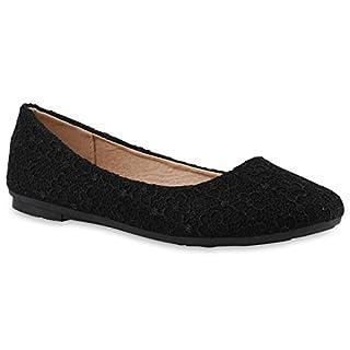 Klassische Damen Ballerinas Leder-Optik Flats Übergrößen Flache Slipper Spitze Prints Strass Schuhe 139386 Schwarz Muster 39 Flandell