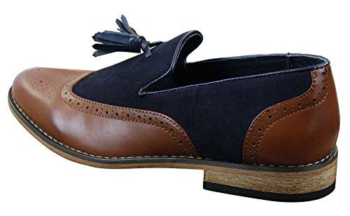 Slip Holzbraun blau Vintage Design Lässig Tweed On Retro Leder Herrenschuhe Optik z6tWAnP