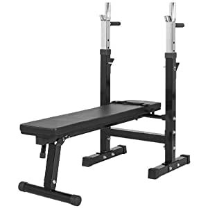 Gorilla Sports Weight Bench with Adjustable Barbell Rack Black