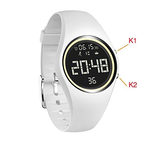 Compteur de calories, IP68 Swim montre étanche suivi d'activité avec podomètre/Précisément Suivez pas/Distance/calories/horloge/minuterie pour la marche Course enfants Homme Femme (besoin non Bluetooth), blanc