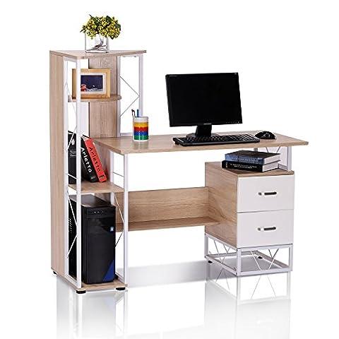 HOMCOM Computer Writing Desk PC Workstation w/2 Drawers Multi-Shelves Home Office Furniture