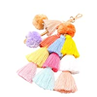 Asusual Keyring Key-Holder Fashion Women Layered Colorful Boho Pom Pom Tassel Bag Charm Key Chain Cute Lovely Fashion Stylies