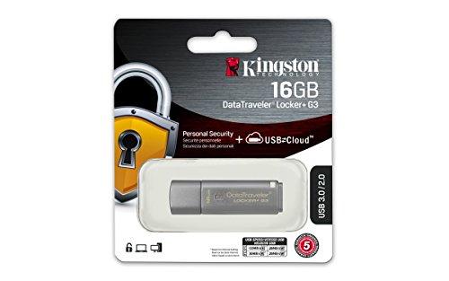 Kingston DataTraveler Locker Plus G3 USB 3.0 16GB Pen Drive (Silver)
