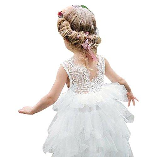 BYSTE Abito Bambina Ragazze Abiti senza maniche Abito di pizzo Gonna a soffietto Vestito ricamo Abito da cerimonia tutu Vestito da principessa matrimonio Festa formale (bianca, 24 mesi)