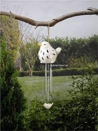 Smart Solar 1090141RD Oiseau Blanc en céramique 55 x 12 x 12 cm Vert Eau