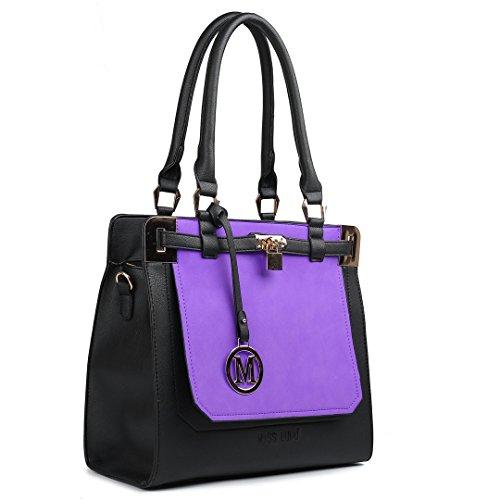 Damen Leder Handtasche Schultertasche Kunstledertasche mit Vorhängeschloss (Schwarz und Marineblau) Miss Lulu EiR4U7